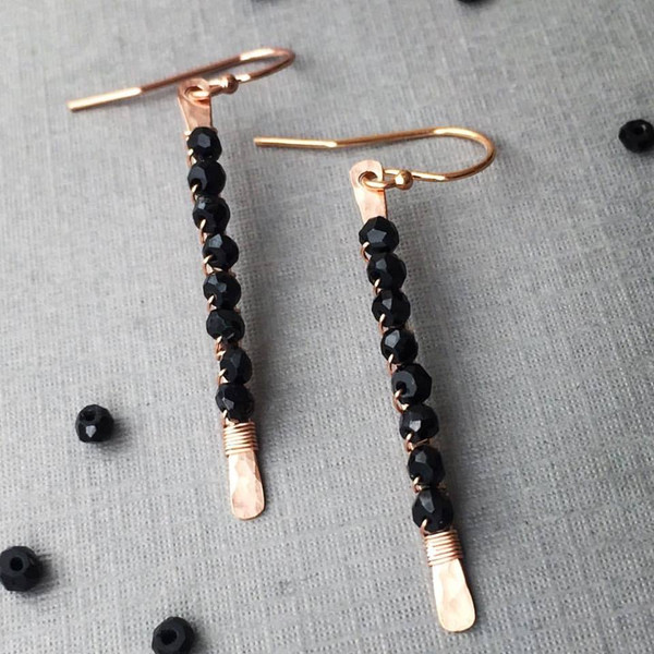 Black Spinel Matchstick Earrings - Rose Gold