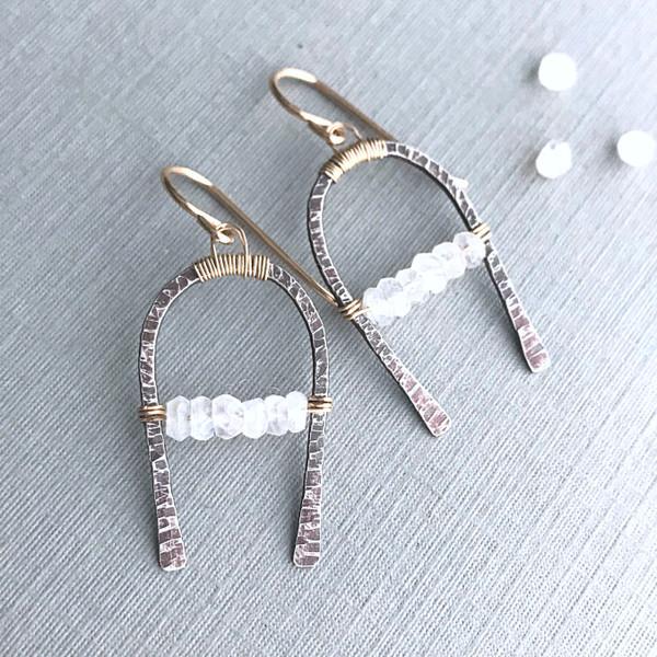 Horseshoe Earrings with Moonstone