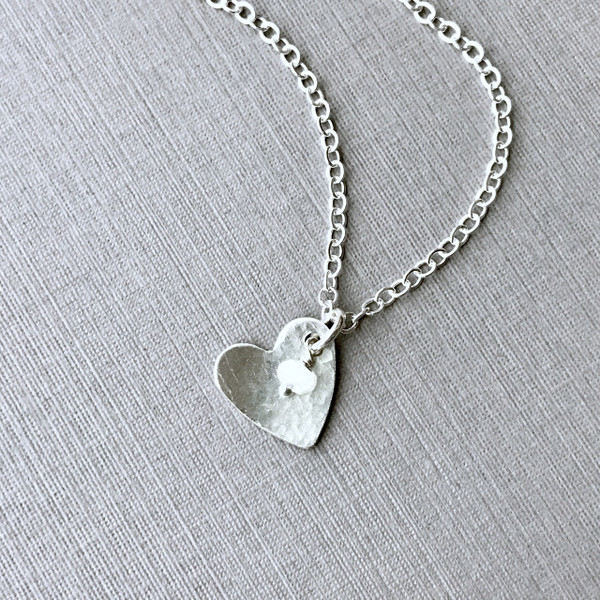 Silver Heart Necklace with Gemstone