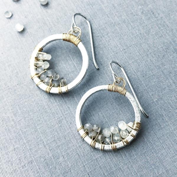 Circle Hoop Earrings with Grey Moonstone - Two-Tone