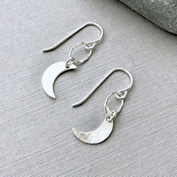 Crescent Moon Earrings - Silver