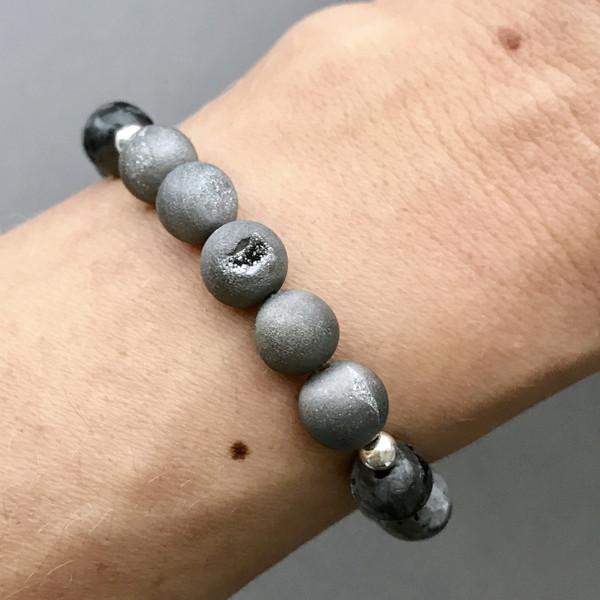 Druzy and Black Labradorite Bracelet