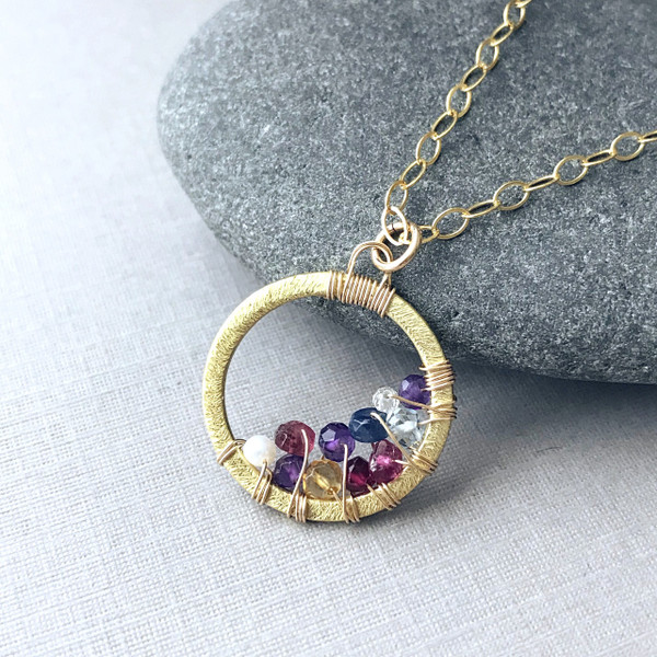 Family Circle Necklace with 7-13 Birthstones