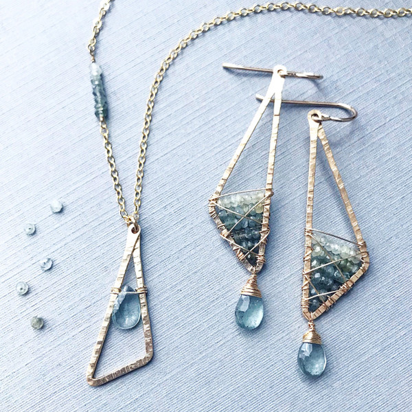 Abstract Triangle Necklace with Ombré Moss Aquamarine