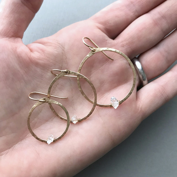 Circle Hoops with Herkimer Diamonds and Gold