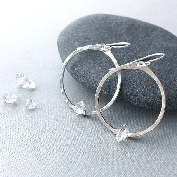 Circle Hoops with Herkimer Diamonds and Silver
