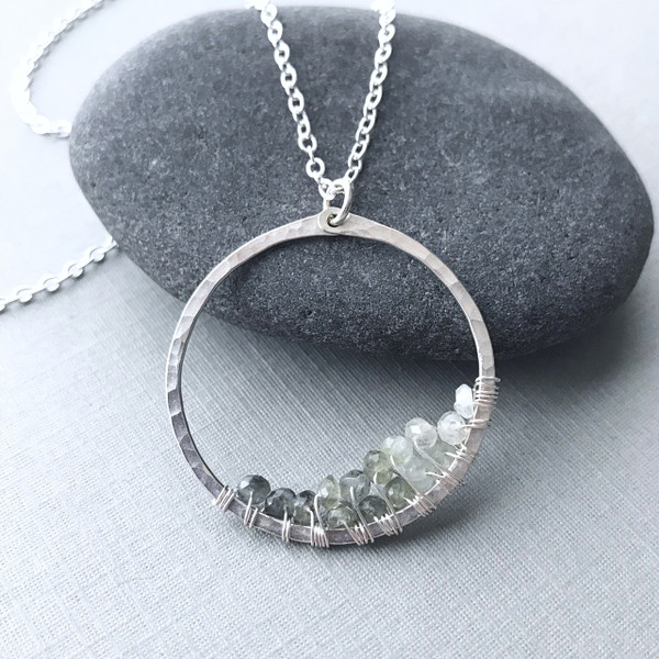 Ombré Moss Aquamarine Circle Necklace - Large