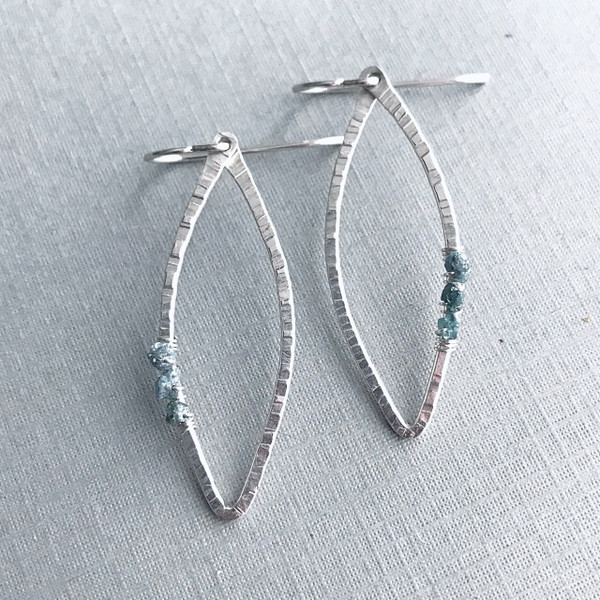 Marquise Earrings with Raw Teal Blue Diamonds