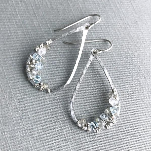 Teardrop Earrings with Aquamarine & Moonstone
