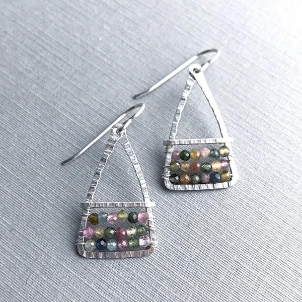 Triangle Bar Earrings with Tourmaline