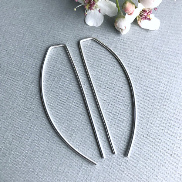 Threader Half Moon Hoops