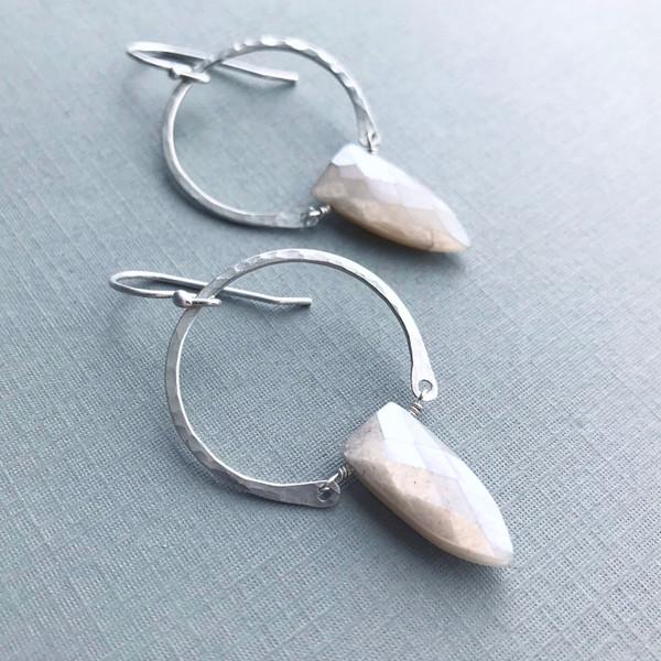 Warrior Earrings -Peach Moonstone