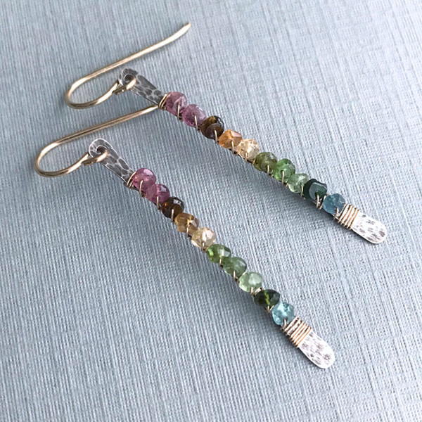 Matchstick Earrings with Watermelon Tourmaline