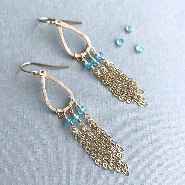 Chandelier Earrings with Blue Topaz