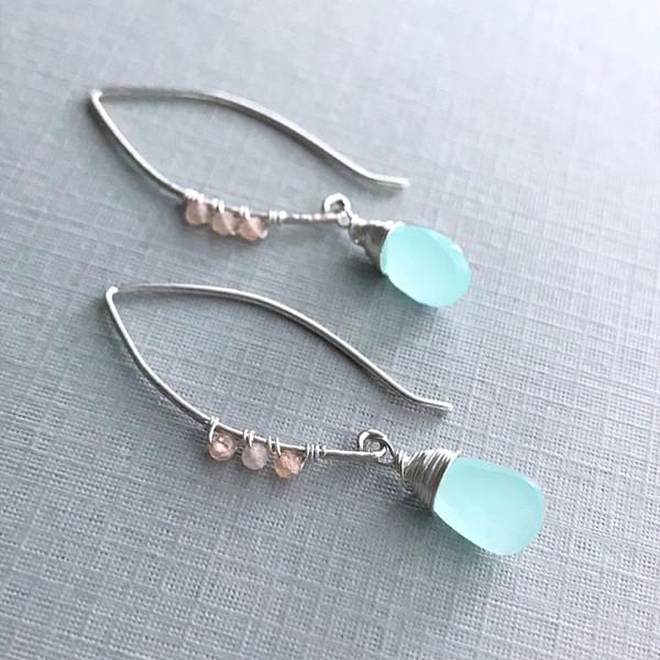 Open Oval Hoop Earrings with Chalcedony