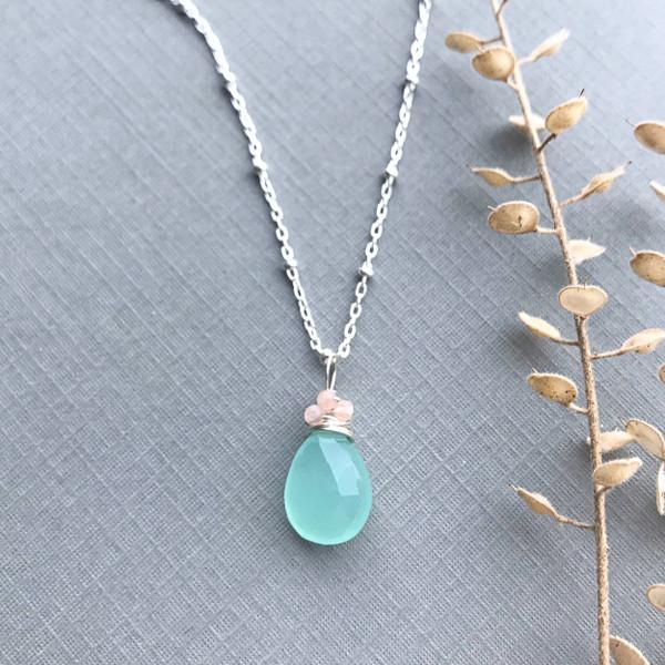 Aqua Chalcedony Necklace Beaded Chain
