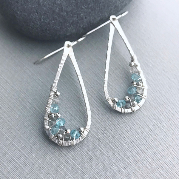 Blue Topaz Teardrop Earrings with Labradorite
