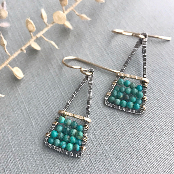 Santa Fe Earrings with Green Turquoise