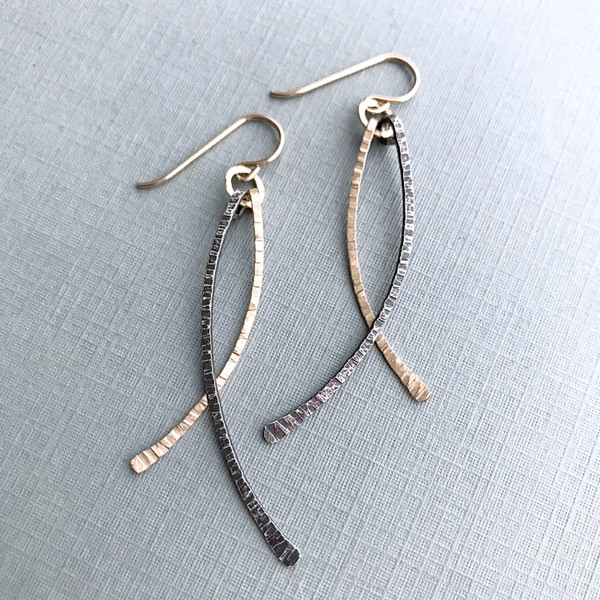 Wisp Earrings with Mixed Metals