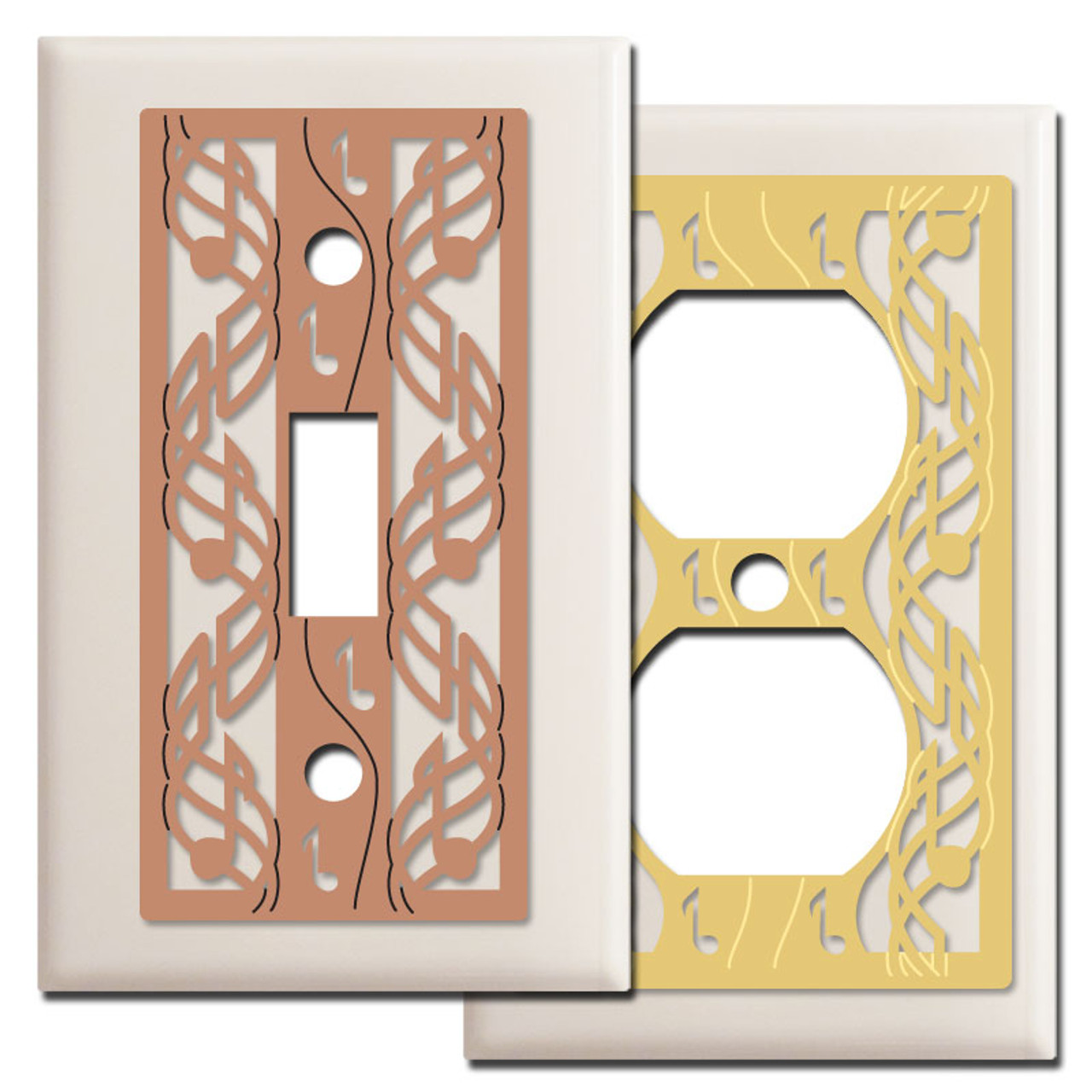 Musical Notes Light Switch Wall Plates In Almond Kyle Design