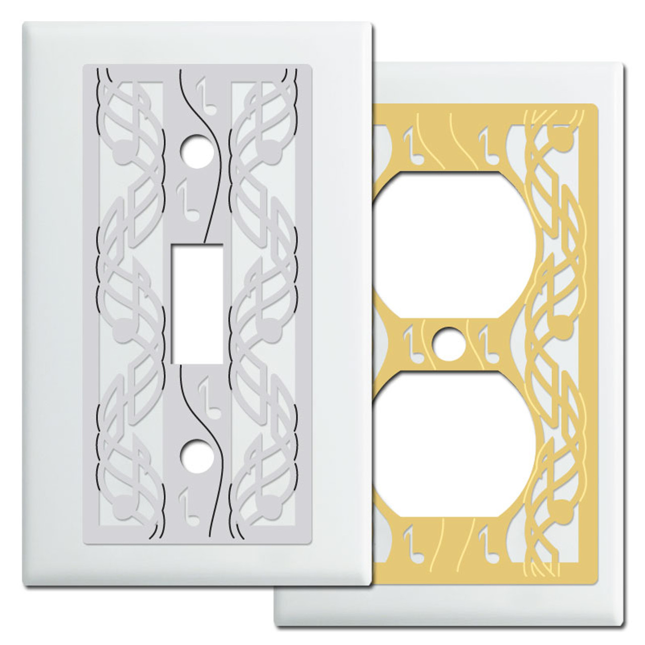 Music Wall Switch Plates In White Kyle Design