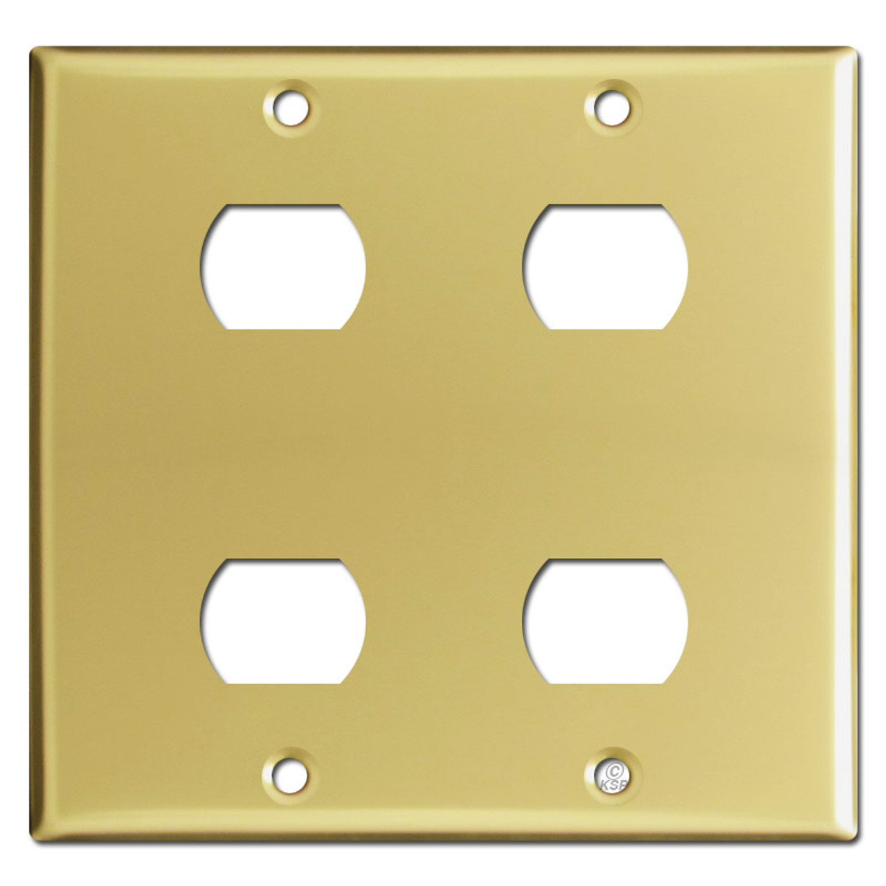 2 Gang 4 Despard Device Light Switch Covers Polished Brass