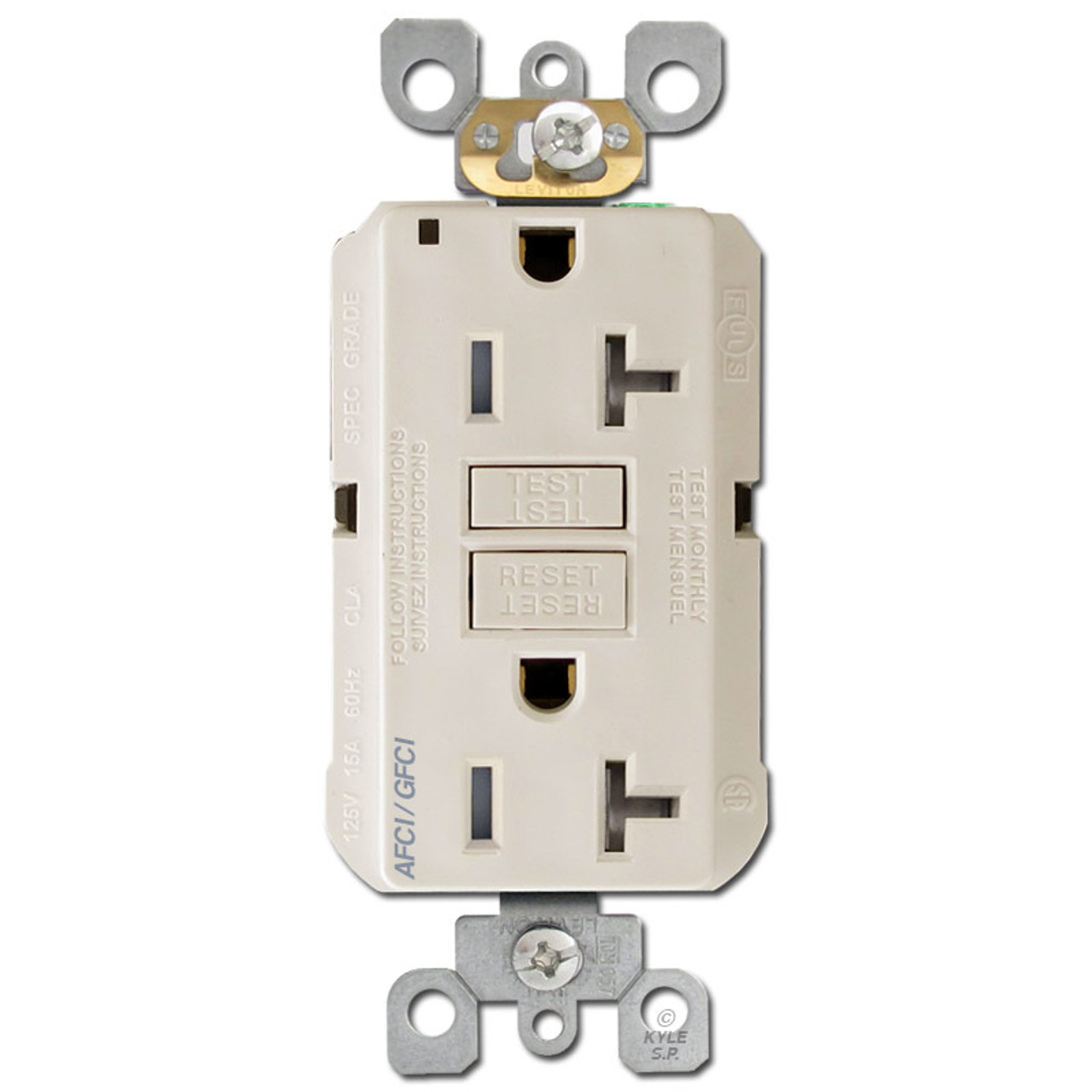 Light Almond AFCI//GFCI Dual Function Outlet Leviton AGTR2-T 20A 14 to 10 ga