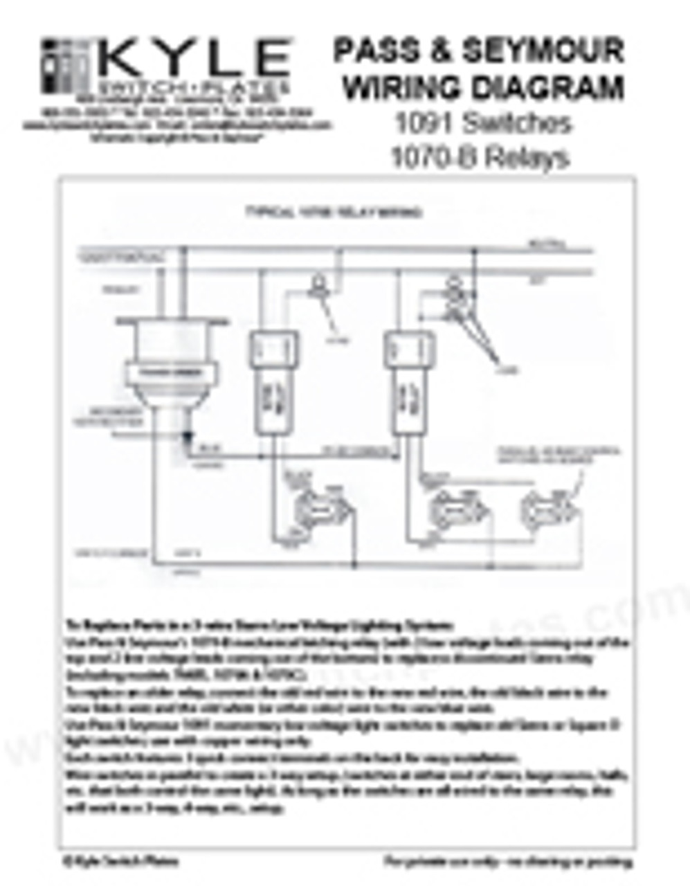 P&S Sierra Low Voltage Switch & Relay Wiring Guide - Download   1070 B Relay Switch Wiring Diagram      Kyle Switch Plates