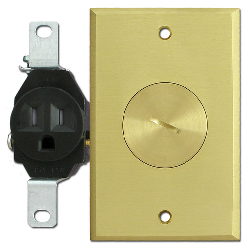 Floor Mounted Tamper Resistant Single Outlet with Brass Cover Plate