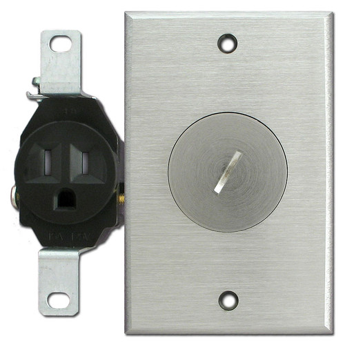 Tamper Resistant Single Receptacle Floor Box - Nickel Silver