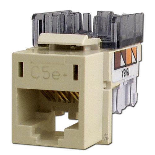 Hubbell Ivory Modular CAT5E Ethernet Jack for Frame