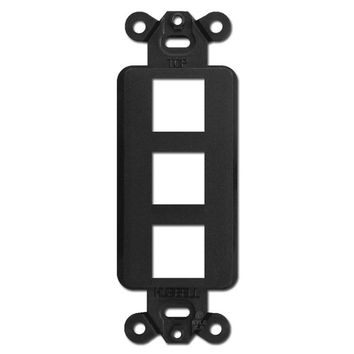 Black 3 Port Frame for Hubbell Modular Jack Adapters