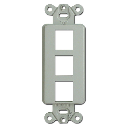Gray 3 Port Frame for Hubbell Modular Jack Adapters