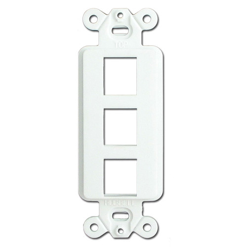 White 3 Port Frames for Hubbell Modular Jacks