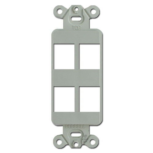 Gray 4 Port Frame for Hubbell Modular Jack Adapters
