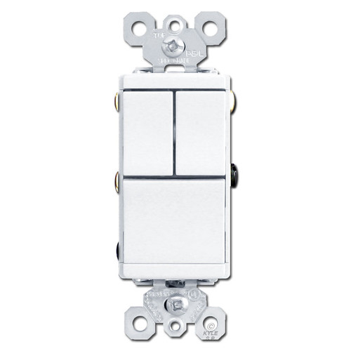 White Combination Device - 3 Single Pole Rocker Switch