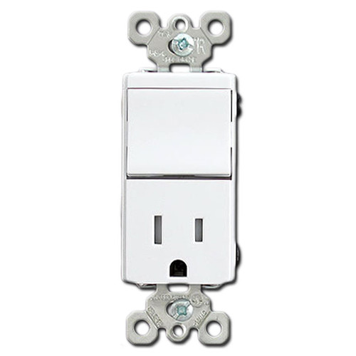 Tamper Proof Combo White Rocker Switch and 15 Amp Receptacle
