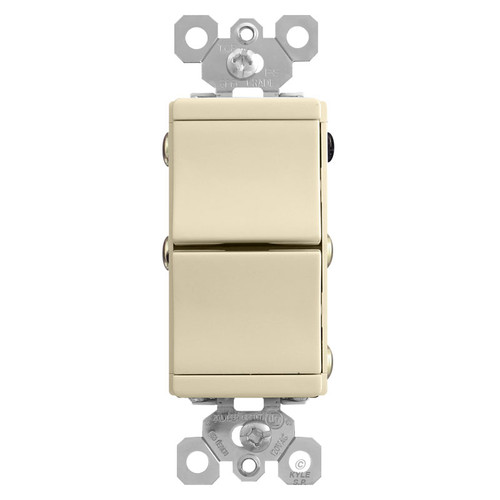 3-Way Ivory Double Rocker Switch