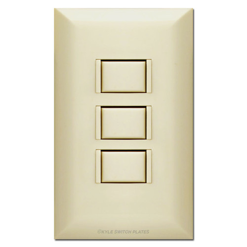 Touch Plate 5000 Low Voltage Lighting - Ivory 3-Switch Station & Cover