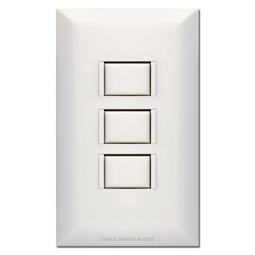 White Touch Plate 5000 3-Switch Station & Cover - Low Voltage Lighting