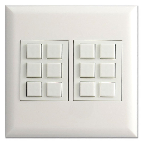 White Touch Plate Low Voltage Classic 12 Button Switches & Wall Plate