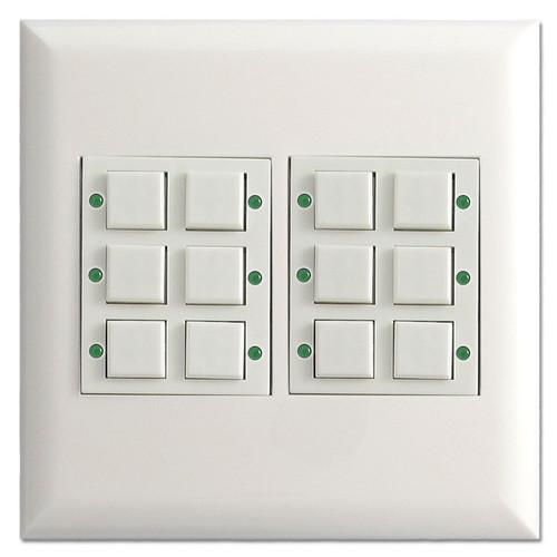White Touch-Plate Low Voltage Classic 12 Button Unit - LED Pilot Light