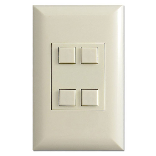 Almond Touch Plate Low Voltage Classic 4 Switch Control Unit