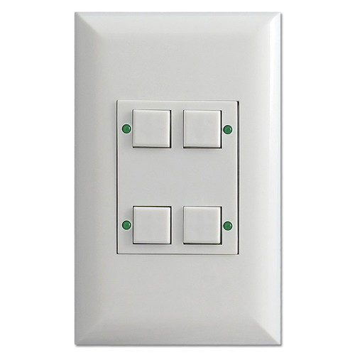 White Touch-Plate Low Volt Classic Switch Unit with 4 Buttons