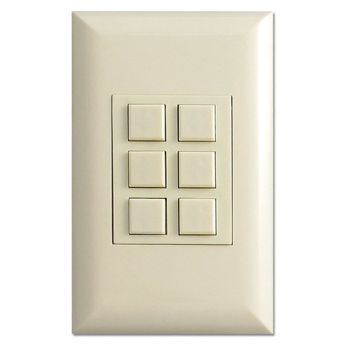 Almond Touch-Plate Classic Low Voltage Control Plate with 6 Switches