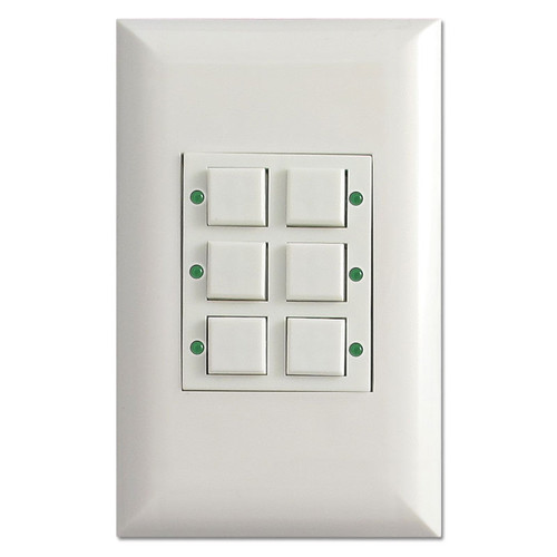 White Touch Plate Low Voltage Classic - 6 Buttons Control Switch