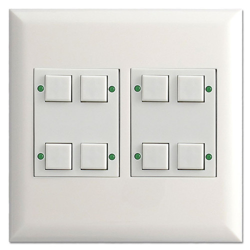 White Touch-Plate LED Pilot Light Control Station - 8 Buttons