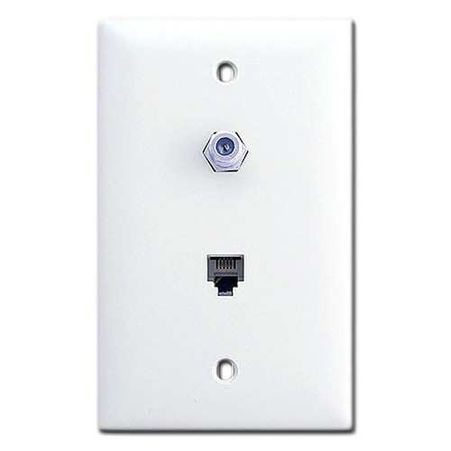 White Phone & Coaxial Cable Jack Switch Plates
