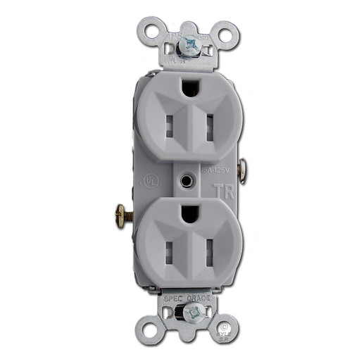 Tamper Resistant 15A Gray Commercial Grade Duplex Receptacle Outlet