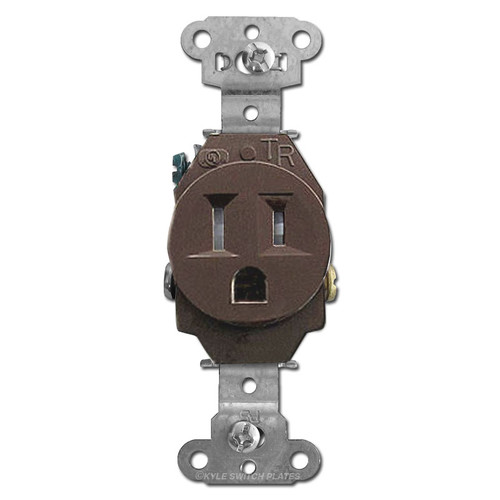 Tamper Resistant Brown Round 15 Amp Single Receptacle